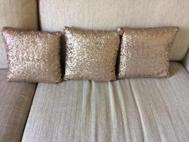 Gold Sequin Cushions x 3