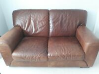 Brown distressed leather 2 seater sofa