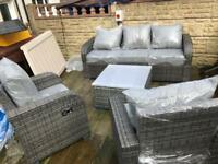 Outdoor conservatory garden set rattan seats, 5 seater sofa set with table - Reclining seats