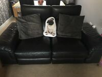 2 seater and 3 seater sofas black leather electric recliners