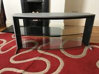 Wide silver, black and glass tv stand