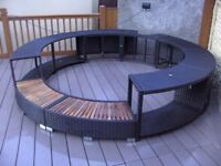 BLACK POLY RATTAN HOT TUB SURROUND LIKE NEW ONLY 6 MONTHES OLD