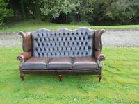 Chesterfield 3 Seater Wingback Brown Leather Sofa