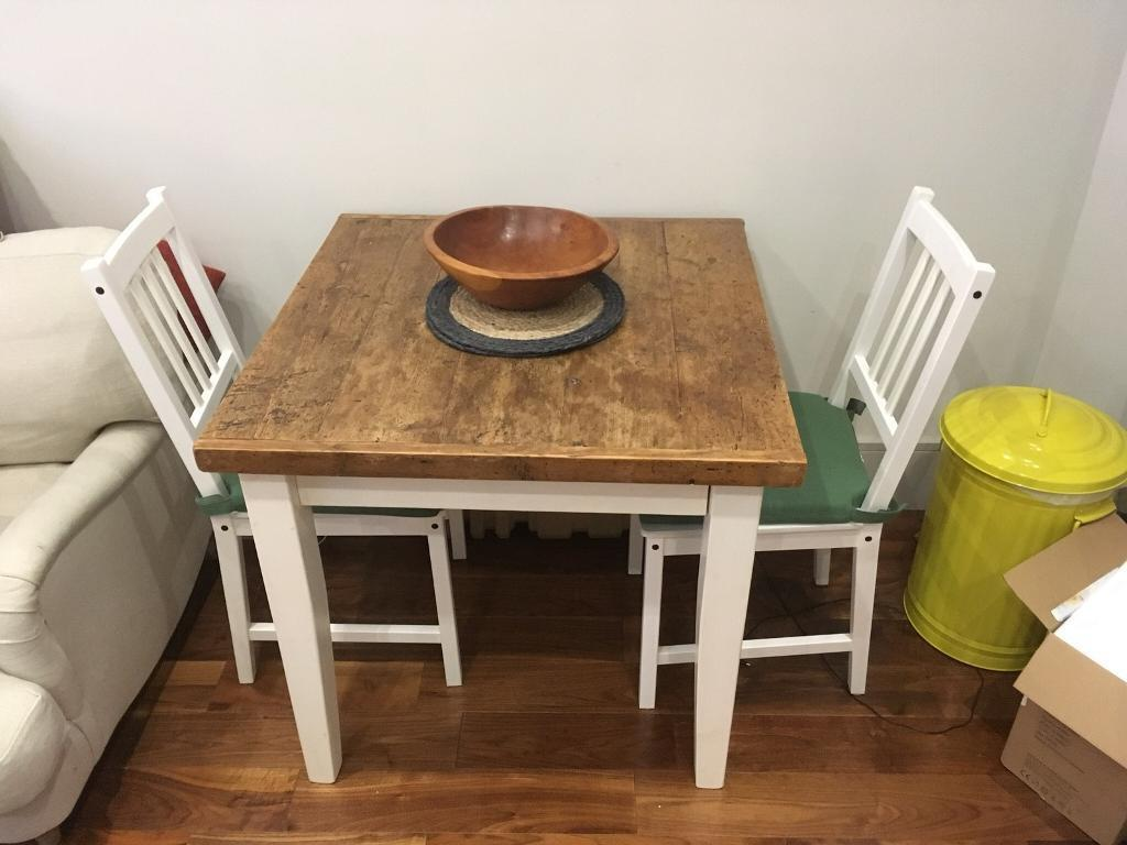 Chic Square Wooden Kitchen Table Two Chairs As Seen In Chelsea