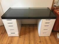 IKEA desk - glass top and 2 Alex 5 drawers