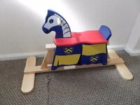 Solid pine rocking horse