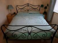 Double bed metal frame with mattress