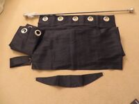 Curtains 1 Pair, Length 72 inches. Black, Eyelet Heading with Pole