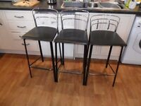 Three Kitchen Stools by John Lewis. Chrome & Leather