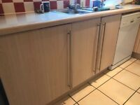 Used Kitchen for sale with sink, tap, hob, double oven, fridge and dishwasher. Collection only.