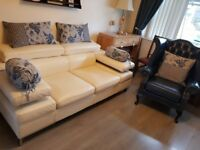 Lovely off white italian soft leather large 2 seater sofa
