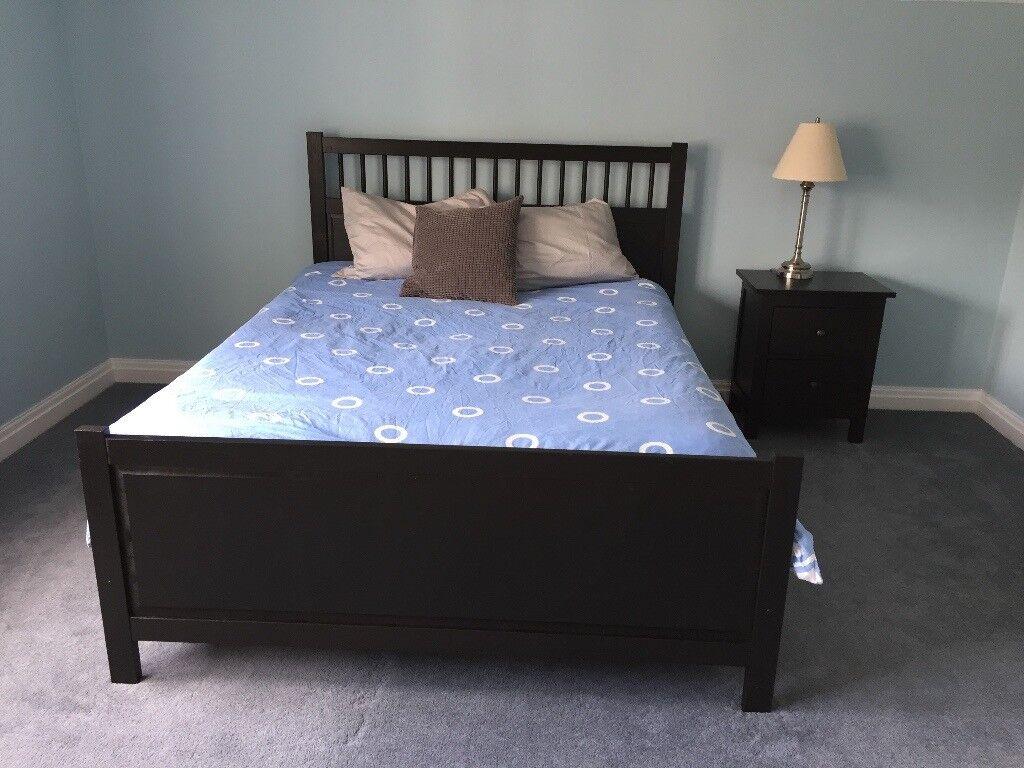 ikea hemnes black brown king size bed in ashbourne. Black Bedroom Furniture Sets. Home Design Ideas