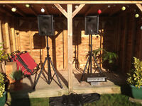 60 Watt Complete PA System with Mixer Amp, Speakers, Stands and Cables