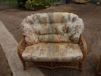 Conservatory Furniture, Cane settee, arm chair and foot stool.