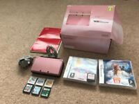 Pink Nintendo 3DS with box & 8 games-excellent condition
