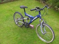 """Front and rear suspension bike, 20"""" wheels, 13"""" frame, 6 gears,"""