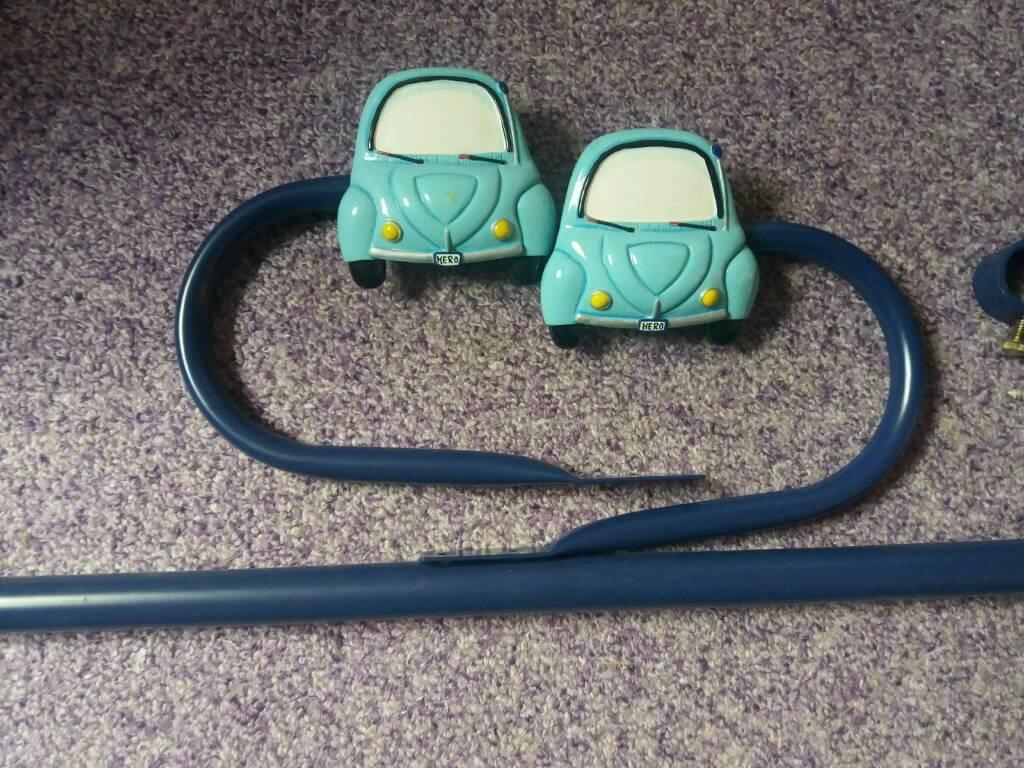 Car extendable curtain pole and hold backs