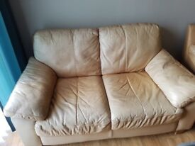 Two seat and Single seat light brown sofa