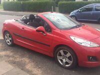 Peugeot 207 2010 Convertible Sports CC 1.6L petrol, 63k miles, MOT 01/2017, Alloys,no 307 206 corsa