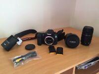 ALMOST NEW Canon EOS 60d 18MP SLR Camera + 2 Canon lens & extras