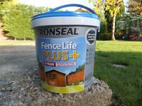 Ronseal Fence Life Plus - Harvest Gold - 4 tubs of 5 Litres. Protection for sawn and planed wood