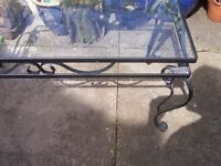 Wrought Iron Glass Top Coffee Table.