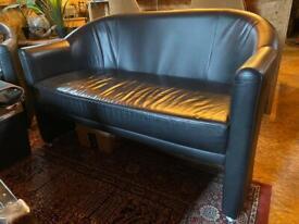 Superb Black Leather Retro 2-Seater Sofa plus 2 Chairs