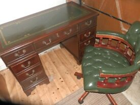 Reproduction Antique Style Leather Desk & Chesterfield Captain's chair, both in great condition.
