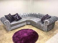 chesterfield corner sofa crushed velvet