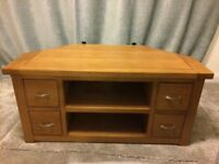 Corner oak TV unit