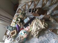 wedding stuff, bunting, logs, decor,table plan