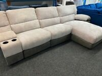NEW - EX DISPLAY LAZYBOY ARLINGTON GREY RECLINER CORNER CHAISE SOFA + MEDIA 70% Off RRP