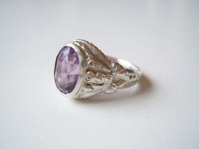 Schöner alter Damen Ring aus 800 Silber mit Amethyst Schmuckstein 8,1 g/RG 56
