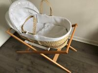 John Lewis Waffle Moses Basket (White) + Stand (Neutral) - Excellent condition