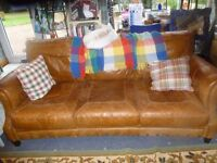 "Brown leather 3 seater sofa 78""x 36"""