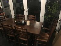 Antique solid oak table and 6 chairs