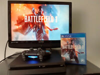 New PS4 SLIM console with wireless controller and Battlefield 1 game
