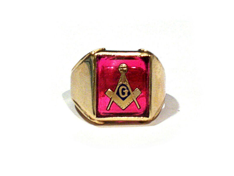 SOLID 10K YELLOW GOLD & SYNTHETIC RUBY MASONIC RING ~ SIZE 10 1/4