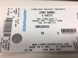 Jimmy Barnes x2 Tickets @ Limelight Belfast Tues 19th Dec 2017