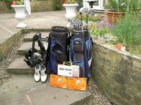 Maxfli graphite shafted full set irons, 2 bags,etc