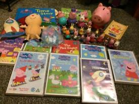 Peppa pig bundle 19 figures 8 dvds books, teddy wooden jigsaw and a money box