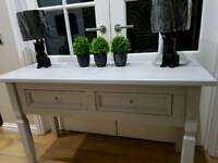 Solid wood tv unit & matching console table