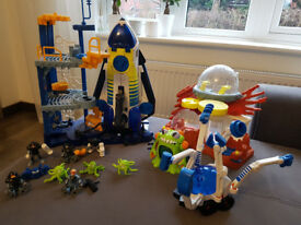 Fisher Price Imaginext Space Station, shuttle, Alien outpost, over car and Aliens Perfect Condition