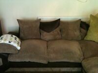 Cord mocha corner sofa