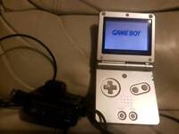 Silver Gameboy advance sp with official charger