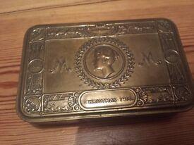 Original WW1 1914/1915 Princess Mary Christmas box with original Christmas card