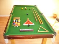Snooker table (6ft) with snooker and pool balls, cues, triangle, scorer and rest