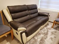 3 Seater manual reclining leather Sofa