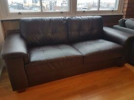 Brown Leather Sofa / Settee / Couch