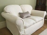 Cream/ off white settee sofa